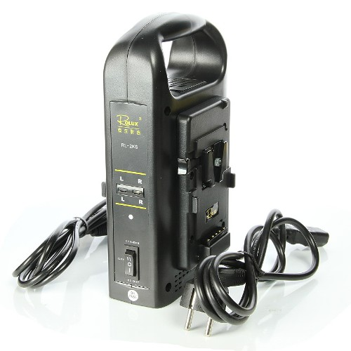 شارژر-Rolux-Dual-channel-charger-for-camera-V-Lock-Batteries